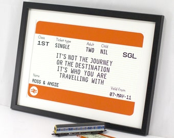 Personalised Wedding Gift, Anniversary Gift, Train Ticket Print, Engagement Gift, Travel Quote, Love Quote, Travel Print, Personalised Gift