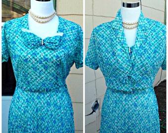 Vintage 1950s Sheer Aqua Plaid Print Day Dress Bolero Jacket Rockabilly VLV Small