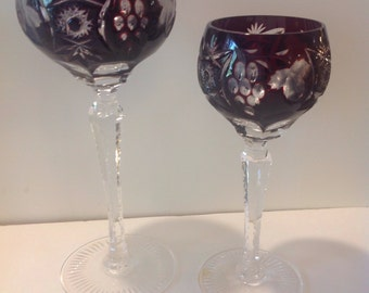 Nachtmann Bleikristall Ruby Red Lead Crystal  Wine Glass and Sherry Glass PAIR, Cut to Clear in Excellent Condition