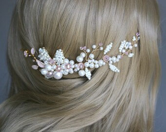 wedding pink golden hair comb. pink golden headpiece. bridal gold pink hair comb