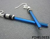 Shiny Sapphire Lightsaber Earrings, Star Wars Jewelry, Luke Skywalker, Jedi, Obi Wan Kenobi, Starwars, Star Wars Earrings, Star Wars Costume