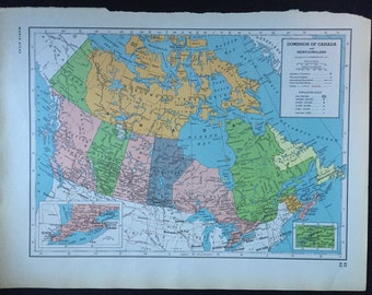 1949 Encyclopedia Britannica Vintage Map Pages (Canada on one side and Nova Scotia / New Brunswick / Prince Edward Island on the other side)
