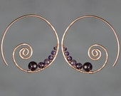 Amethyst copper wiring scroll hoop earring handmade US freeshipping Anni Designs