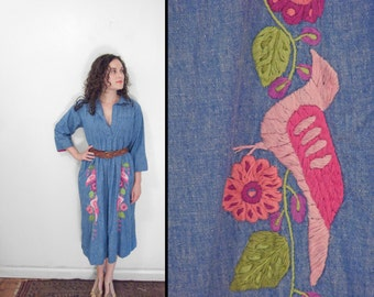 Denim Embroidered Dress 1960s by Nelly Mexico Birds Pockets Maternity Size Medium