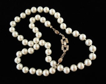 Crown Trifari Faux Pearl Necklace Rhinestone Clasp Vintage Signed