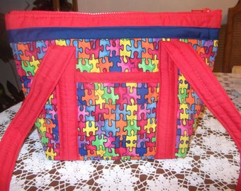 Autism Awareness Machine Quilted Purse