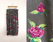 Vintage Floral Print With Stripes Womens Skirt