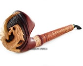 "NEW Churchwarden Wooden Pipe NORDIC ""DRAGON"" Decorated with Leather. Tobacco Pipe, Handcrafted Smoking Pipe of Pear Wood 13''"