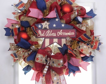Patriotic Wreath, Mesh Wreath Patriotic, Welcome Wreath, God Bless America, Red White Blue Wreath, 4th of July Wreath, Rustic Wreath