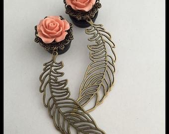 PICK SIZE Rose Feather Bohemian Dangle Girly Plug Gauges