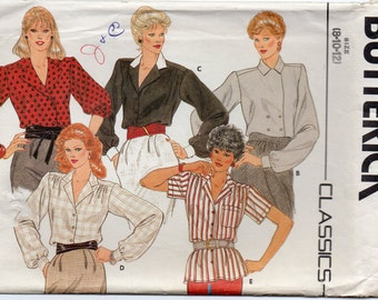 Loose Fiting Blouse With Notched Collar Assymetrical Closing Forward Shoulder Seams Size 8 10 12 Sewing Pattern Butterick 6197