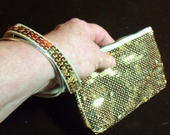 Ladies Golden Sparkle Evening Clutch Bag, Gold Sequined hand bag, Evening bag in gold.....