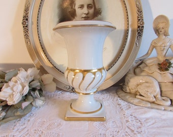 Large French white Limoges porcelain, hand decorated vase, urn.  P Pastaud.  Country cottage chic