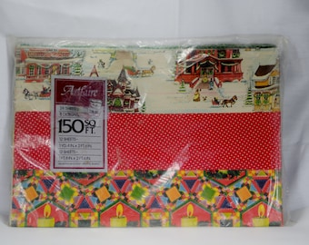 Vintage Artfaire Holiday Christmas Wrapping Paper Assorted Prints 150 SQ. FT. 24 Sheets 8 Designs