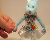 Hand needle felted Blue Rabbit holiday Christmas soft sculpture OOAK  felt sculpture