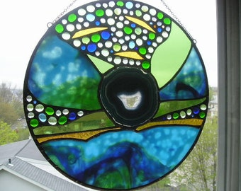 Stained Glass Art Panel|Agate|Blue|Green|Gold|Round with Agate|Abstract|OOAK|Art & Collectibles|Glass Art|Panel|Handcrafted|Made in USA