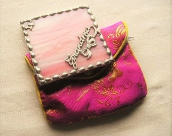 Stained Glass Purse Mirror|Pocket Mirror|Grandma|I Love Grandma|Pink|Bath & Beauty|Makeup and Cosmetics|Makeup Tool|Handcrafted|Made in USA