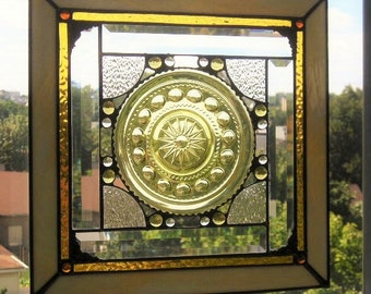 Stained Glass Panel|Glass Art|Vintage Glass Plate|Gold|Art & Collectibles|Glass Art|Panel|Handcrafted|Made in USA