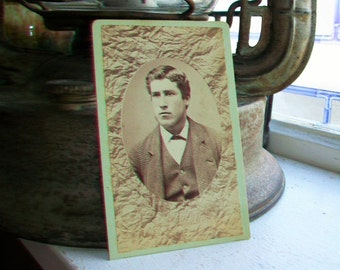 Victorian Photograph Antique Cabinet Card 1800s Victorian Man