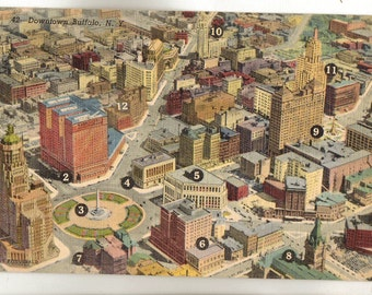 Linen Postcard, Buffalo, New York, Aerial View of Downtown, 12 Buildings Marked, 1948