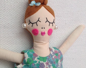 Vintage Girl, RosieDoll, Rag Doll, Dolly, Handmade Doll, Girl Gift, Rosiedoll, Flower dress