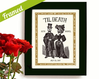 Halloween Skeleton Wedding Gift Personalized Art Day of the Dead Tombstone Newlywed Gift Tattoo Couple Framed Art Print Goth Couple