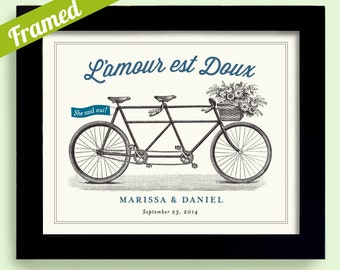 French Wedding Gift, French Decor, Bicycle Built for Two, French Theme Wedding in France Unique engagement