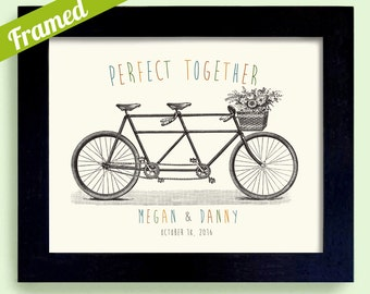 Perfect Couple Newlywed Keepsake Wedding Gift Unique Engagement Gift Tandem Bicycle Art Framed Print Bicycle for Two Bridal Shower