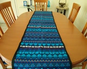 table runner extra long woven runner in blue turquoise colors,  ethnic textile, table runner, long placemat, table cloth