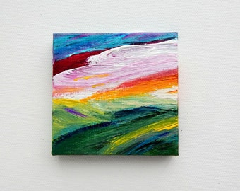 Expressive Landscape Painting Small Painting 3 x 3 Canvas Acrylic Painting Mini Landscape