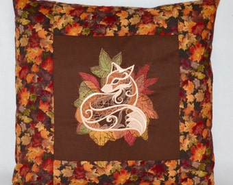 """Fall Fox Pillow Cover Embroidered 18x18"""""""