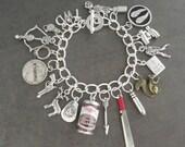 The Walking Dead Zombie Apocalypse Survival Charm Bracelet - Zombie Jewellery - Zombie Survival Kit Jewelry - Zombie Bracelet