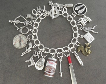 The Walking Dead Zombie Apocalypse Survival Charm Bracelet - Zombie Jewellery - Zombie Survival Kit Jewelry - Zombie Bracelet