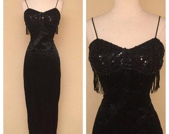 CLEARANCE Vintage Fringe Sequin Wiggle Dress 60s Style Cocktail Dress Black Satin with Fringe Sequin Back Train Sash Rockabilly Pinup Size X