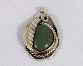 Native American Green Turquoise Pendant Sterling Silver Vintage Handmade Tracy B Designs Estate Jewelry