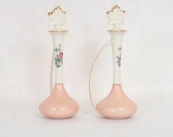 Vintage Kaolena Cruets by Max Schonfeld, Cottage Roses, Peach, Glass Cruets, Home Decor