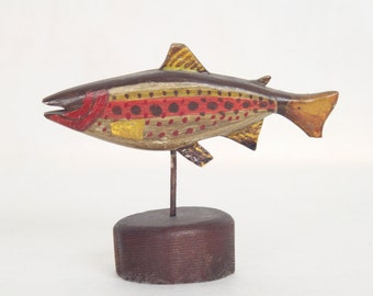 Handmade and Hand Painted Folk Art Fish Brown and Red Carved Wooden Fish Whimsical Home Decor