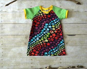 CLEARANCE - 12-18mo Colorful Stars Dress, Jersey Knit Baby Dress, Toddler Clothes, Raglan Sleeved Dress, Made by The Corduroy HIppo