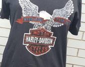 Vintage Harley Davidson Shirt Biker Eagle Rock & Roll Tee