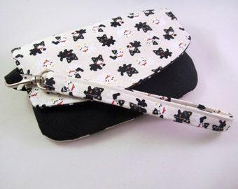 Smartphone wristlet wallet Iphone 6s Wristlet Iphone 6s wallet Smartphone wallet Floral Smartphone wallet IPhone 6s wristlet Black cat