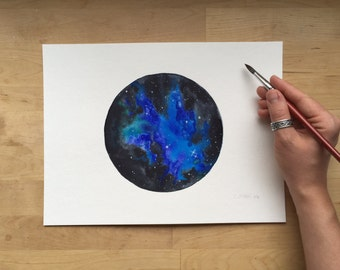 Deep Blue Nebula - 9x12 Watercolor Painting on Paper