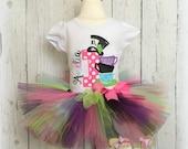 Wonderland Birthday Tutu Outfit- Teacups- Mad Hatter- Custom Birthday Outfit