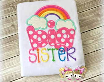 Big sister shirt with rainbow - rainbow big sister shirt - rainbow baby sibling shirt - custom big sister shirt - pregnancy announcement