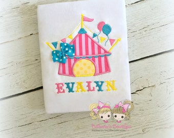 Circus tent shirt - pink circus tent shirt - girls circus tent shirt - circus themed shirt - 1st circus - circus birthday shirt