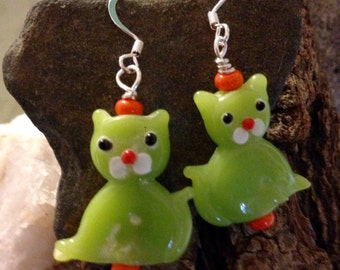 Whimsical Lampwork Cat Earrings Opaque Lime Green