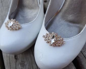 Gold Wedding Rhinestone Shoe Clips,  Bridal Shoe Clips, Rhinestone Shoe Clips, Crystal Shoe Clips,  Clips for Wedding Shoes, Bridal Shoes