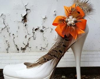 Pheasant feathe shoe clips, orange, brown, camo, feather shoe clips, shoes clip, shoe clip ons, womens, brides, accessories