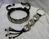 Black Braided Bracelet & Key Chain with Silver Conchos