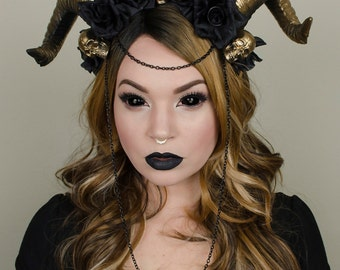 Black and gold skull headdress - maleficent goth crown - halloween costume