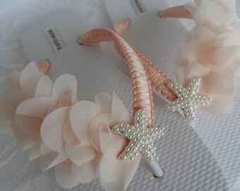 Salmon Bridal Flip Flops / Beach Wedding Flip Flops / Rhinestone Flip Flops / Chiffon  Leaf Flip Flops./ Bridesmaids.